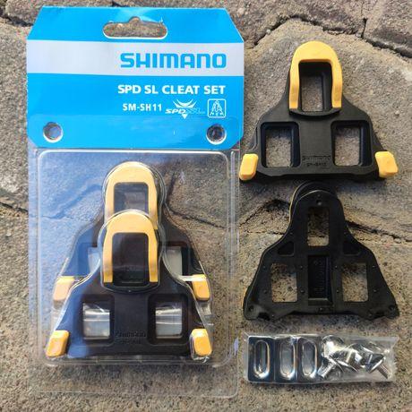Bloki rowerowe szosowe Shimano SPD-SL w kolorze żółtym - 2 komplety
