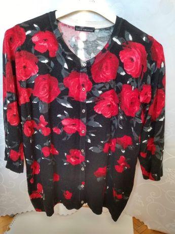 Elegancki damski kardigan DAVID EMANUEL w kwiaty sweterek