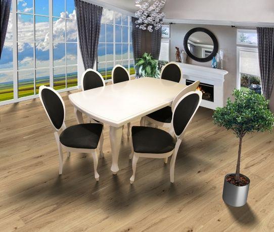 Stół DĘBOWY Ludwik 160/240x90cm + 6 Krzeseł BONA GLAMOUR,