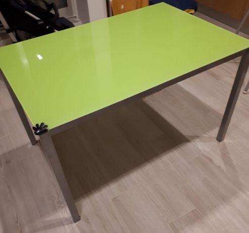 Mesa de vidro verde para cozinha