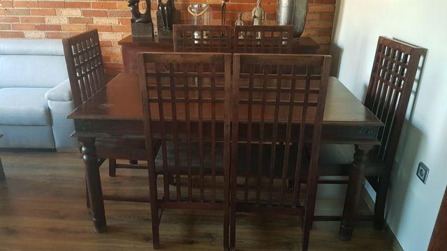 Meble kolonialne stół + 6 krzeseł