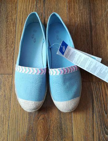 Balerinki baleriny espadryle mokasyny jeansowe błękitne 40 nowe metka