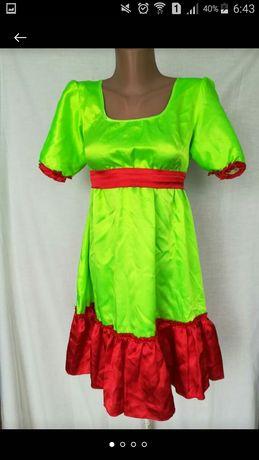 Платье атласное яркое танцевальное украинском стиле