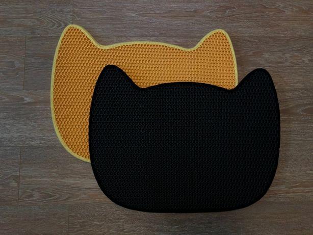 Коврик для кошачьего туалета размером 65*49 см. В виде головы кошки.