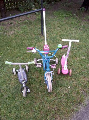 Rowerek i dwie hulajnogi dla dziecka- całość 10zl