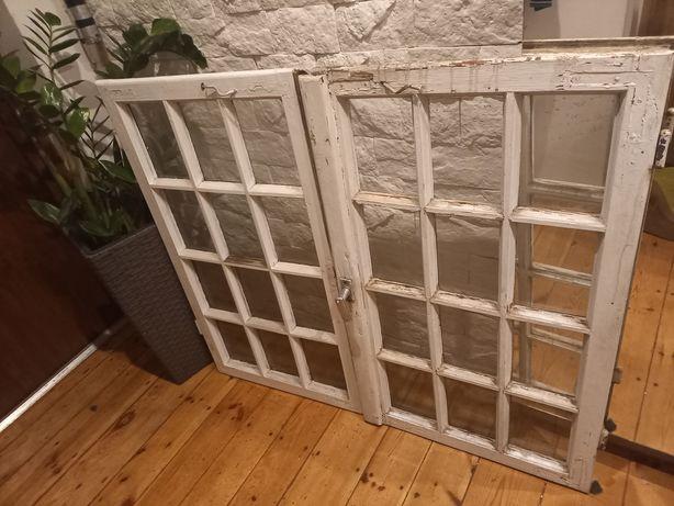 drewniane okna ramy poniemieckie ze starówki retro szprosy