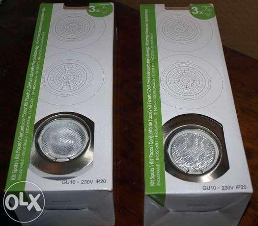 2 Kit de Spots GU10 – 230v IP20 (Novos)