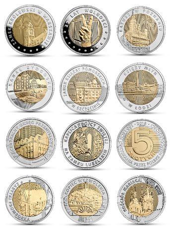 5 zł zestaw komplet 12 monet okolicznościowych menniczych
