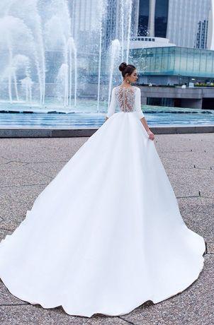 Платье свадебное весільна сукня айвори шлейф свадьба атлас тренд s