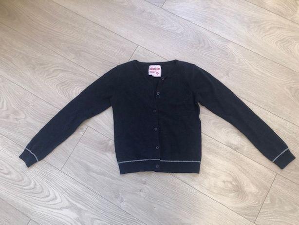 Śliczny sweterek kardigan granatowy z rozpinanymi guzikami 140/146 cm