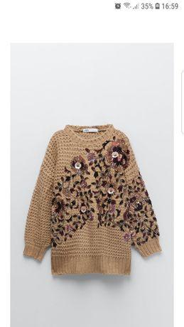 Zara sweter oversize L ozdobny