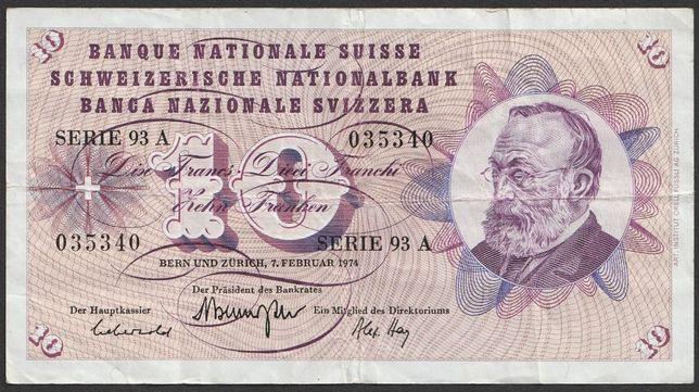 banknot Szwajcaria 10 franków 1970 - 93A - Keller