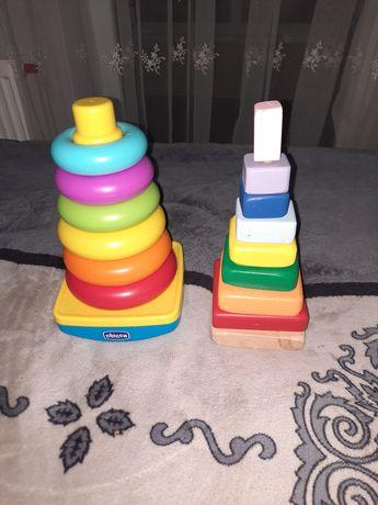 2 пирамидки,chicco и деревянная