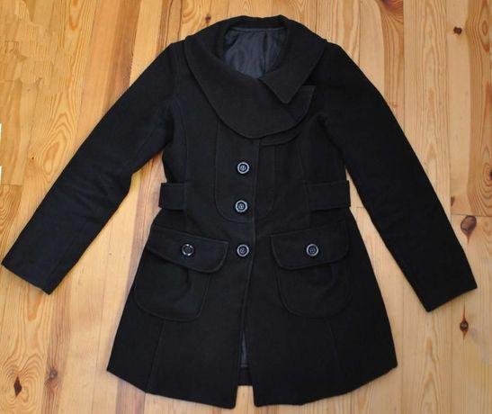 Płaszczyk kurtka jesienno zimowy damski czarny elegancki r. 36 S s.bdb