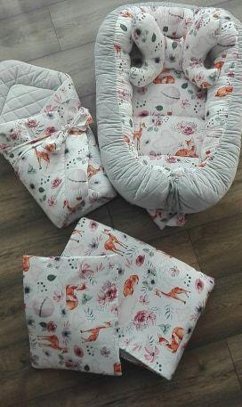 Zestaw Premium 5 el. kokon niemowlęcy,kocyk,poduszeczka,motylek, rożek