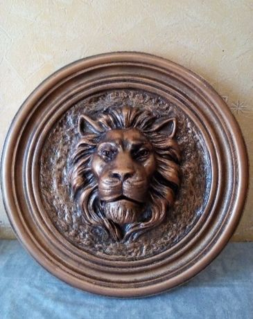Обмен. Фасадный, каминный (маскарон, медальйон) Лев, цвет бронза