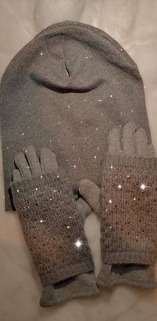 Czapka i rękawiczki damskie komplet ocieplane szare nowe