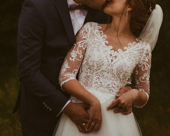 Suknia ślubna rozm. 34 odkryte plecy