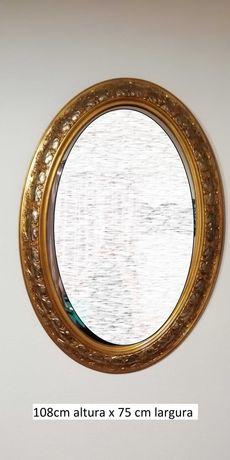 Conjunto de espelhos clássicos, moldura dourada, em bom estado