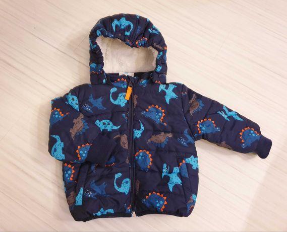 Ciepła kurtka zimowa z misiem dla dziecka rozm 74
