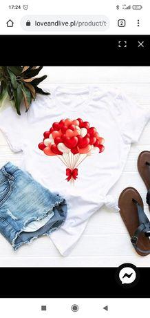 Love&Live biała koszulka z nadrukiem