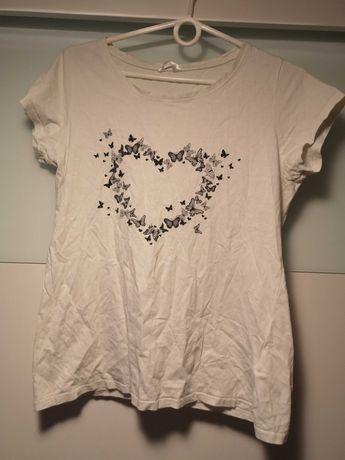 Biała bluzka serce motyle