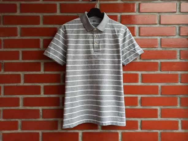 Uniqlo мужская серая футболка поло размер L