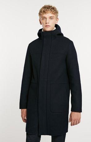 Мужское зимнее шерстяное пальто с капюшоном Jack Jones