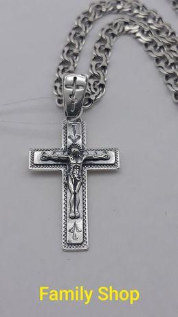 ХИТ ПРОДАЖ Серебряный Крестик 3561 подвес + цепь кулон цепочка крест