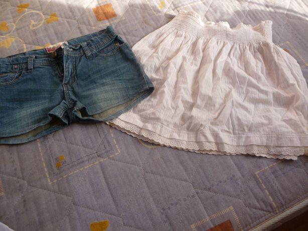 Короткие джинсовые шорты + юбка на 10-12 лет