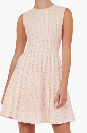 Ted Baker Womens Knitted Flippy Skater Dress pudrowa sukienka