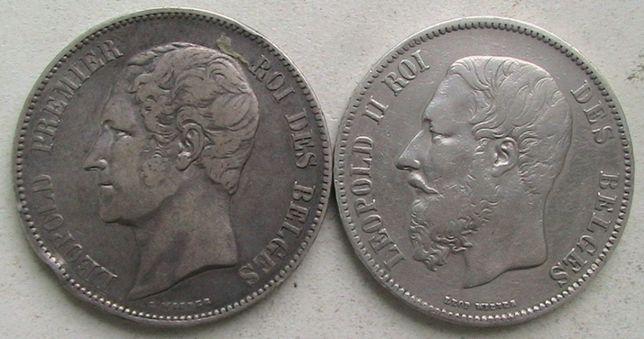 Бельгия 5 франков 1852, 1870 Серебро подборка Крупные монеты