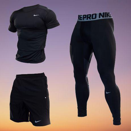 Компрессионная одежда Для Спортзала Бега NIKE 3в1 Рашгард Лосины Шорты