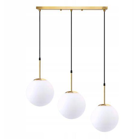 LAMPA wisząca 3 KULE SZKLANA MLECZNA ZŁOTA potrójna na belce
