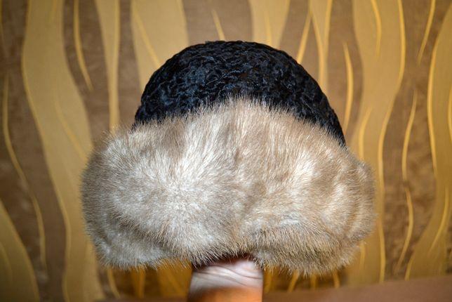 Шапка, шапочка женская из песца и каракуля, размер 58