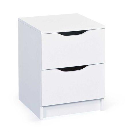 OUTLET - szafka nocna z szufladami nowoczesna biała komoda