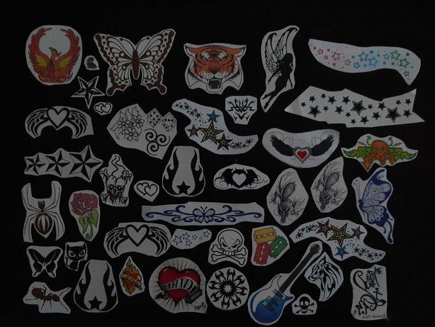 Tatuaże zmywalne czarne i kolorowe