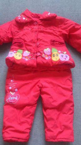 Куртка с капюшоном и полукомбинезон на девочку 12-18 месяцев