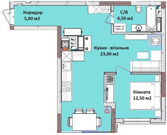 Одно-двокімнатна квартира 47 м2. 32500$! В розстрочку!