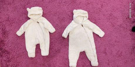 Теплые комбинезоны человечки пижамы  h&m 0-3 мес 3-6 мес