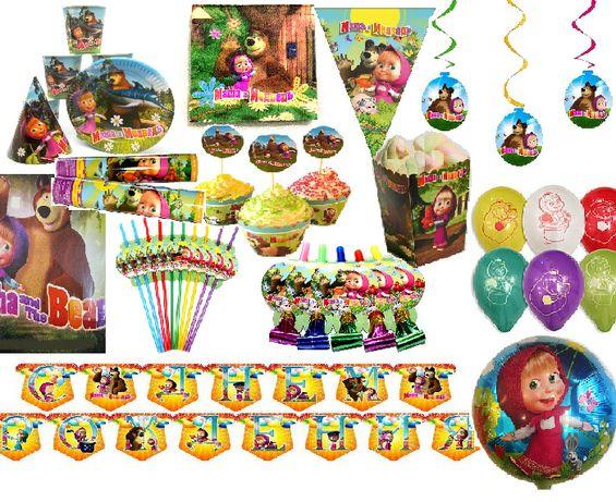"""Декор день рождения """"Маша и Медведь"""" (топперы капкейки, гирлянда и др)"""