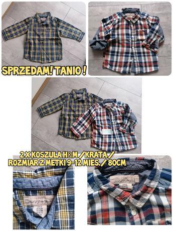 Sprzedam! 2 koszule boys w krate marki H&M /rozmiar 9-12m/ 80cm