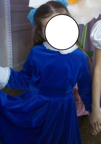 Красивое нарядное платье королевский бархат 104-110 цвет электрик