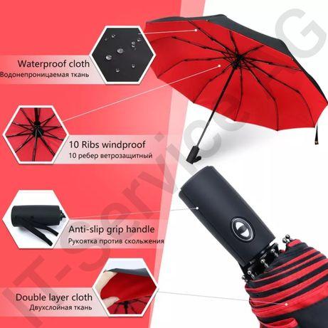 зонт автомат ветрозащитный двухслойный водоотталкивающий мужск/женский