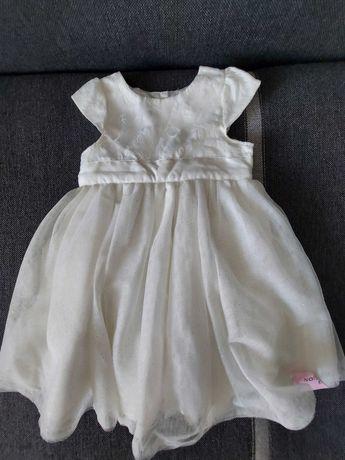 Sukienka dziewczęca biała chrzest, urodziny NOWA - 12/18 m-cy