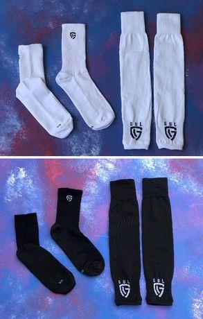 Гетры футбольные без носка + носки(черные)/комплект/обрезки/для фу