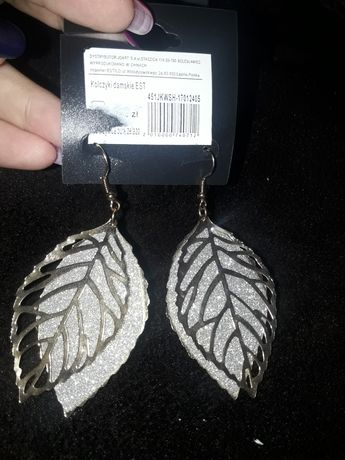 Nowe kolczyki zloto srebrne listki