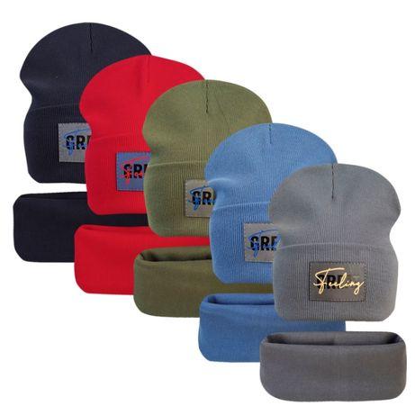 Двойной трикотажный комплект шапка с хомутом Грейт ог.52-56см