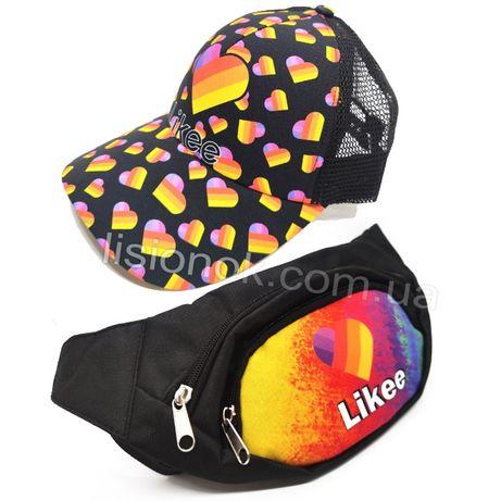 Набор кепка и бананка likee, сумка на пояс и бейсболка лайки