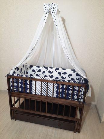 Цена за всё! Детская кроватка Дубок,кровать маятник с постелькой